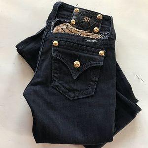 Miss Me Black & Gold Boot Cut Jeans Size 25